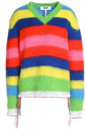 MSGM Crochet-trimmed striped intarsia-knit sweater