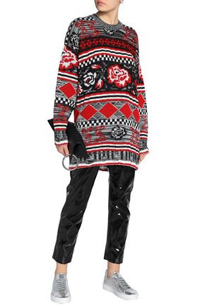 MSGM Oversized intarsia wool-blend sweater