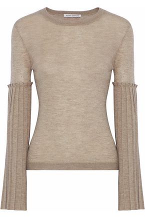 AUTUMN CASHMERE Pleated metallic slub cashmere-blend top