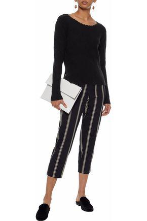 AUTUMN CASHMERE Split-back brushed cashmere-blend sweater
