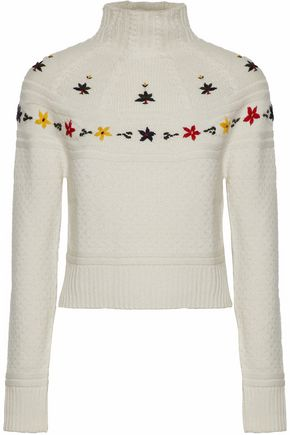 AUTUMN CASHMERE Embroidered cable-knit turtleneck sweater