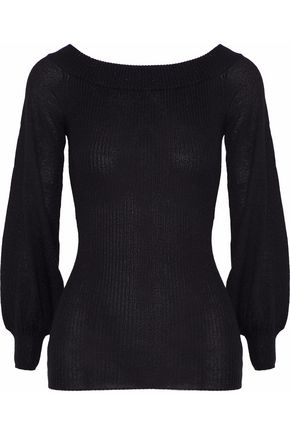 AUTUMN CASHMERE Ribbed metallic cashmere, Lurex and silk-blend sweater