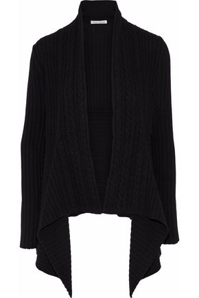 AUTUMN CASHMERE Draped ribbed and cable-knit cardigan