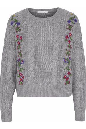 AUTUMN CASHMERE Embroidered cable-knit sweater