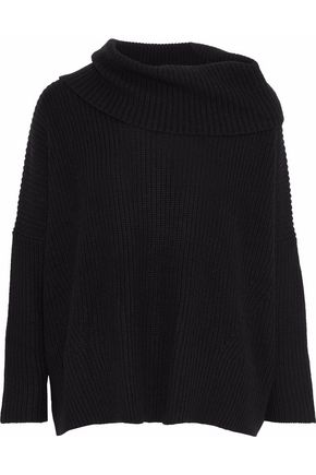AUTUMN CASHMERE Suede-appliquéd ribbed-knit sweater