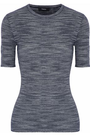 THEORY Mélange ribbed-knit merino wool-blend top