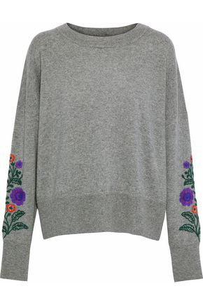 AUTUMN CASHMERE Embroidered mélange cashmere sweater