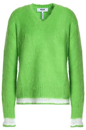 MSGM Crochet-trimmed brushed knitted sweater