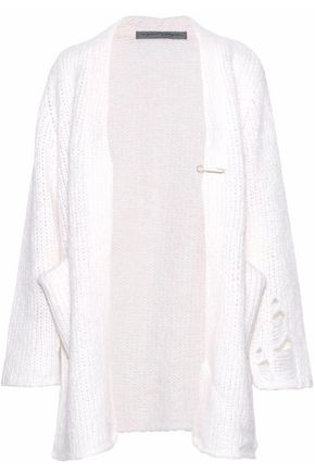 RAQUEL ALLEGRA Fuzzy Punk distressed knitted cardigan