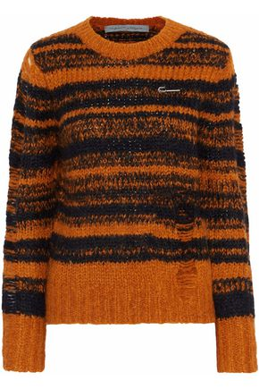 RAQUEL ALLEGRA Stripe Lofty distressed intarsia-knit sweater