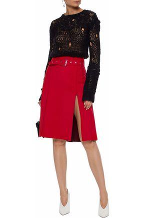 HELMUT LANG Distressed open-knit wool-blend sweater