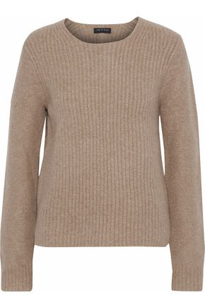 RAG & BONE Francie suede-trimmed ribbed merino wool-blend sweater