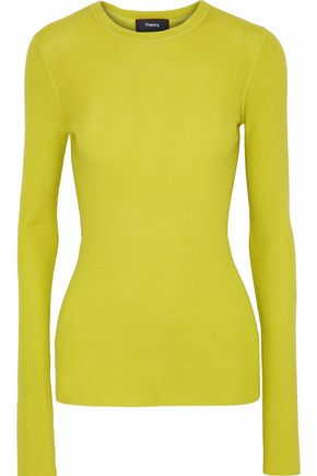 THEORY Mirzi neon ribbed merino wool sweater