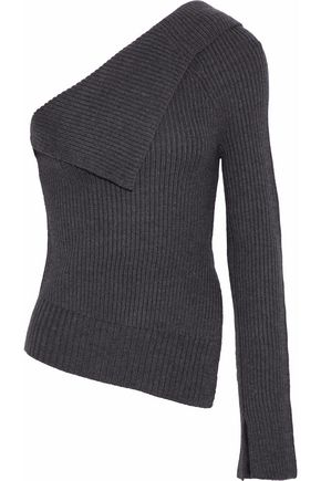THEORY Harmony one-shoulder ribbed wool-blend sweater