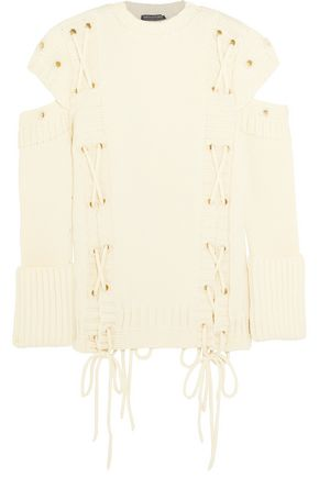 ALEXANDER MCQUEEN Cold-shoulder lace-up wool sweater
