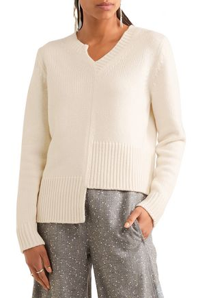 ADAM LIPPES Asymmetric merino wool and cashmere-blend sweater
