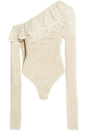 MAGDA BUTRYM Natal one-shoulder crocheted cotton-blend bodysuit