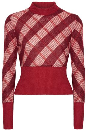 MIU MIU Checked mohair-blend sweater