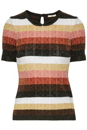 FENDI Metallic striped pointelle-knit wool-blend top