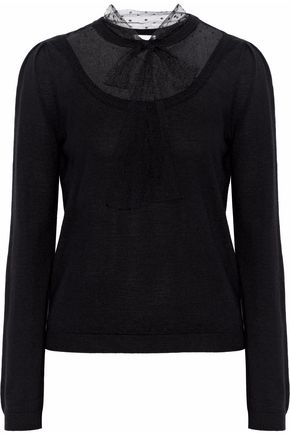 REDValentino Point d'esprit-paneled wool sweater