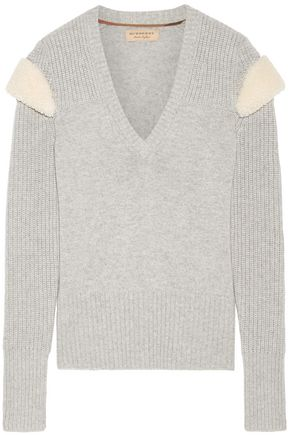 BURBERRY Shearling-trimmed wool and cashmere-blend sweater
