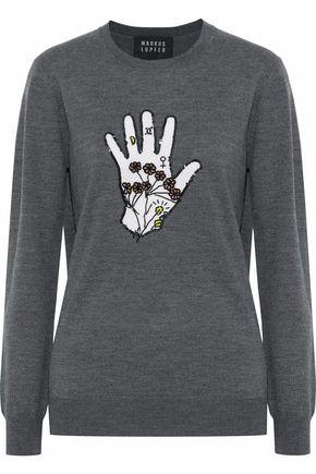 MARKUS LUPFER Natalie embellished intarsia merino wool sweater