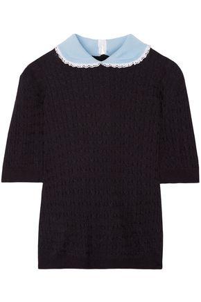 MIU MIU Cable-knit cashmere and silk-blend sweater