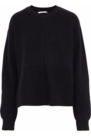 HELMUT LANG Ribbed and bouclé-knit wool, yak and cashmere-blend sweater