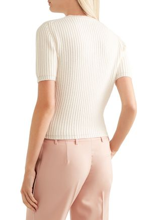 MIU MIU Embellished ribbed cashmere sweater