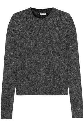 SAINT LAURENT Metallic ribbed-knit sweater