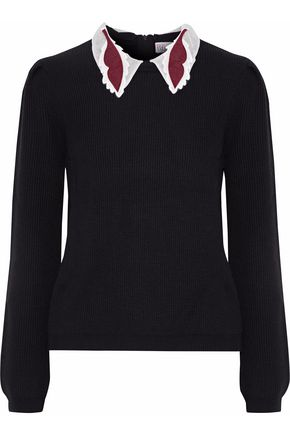 REDValentino Appliquéd organza-trimmed ribbed wool sweater
