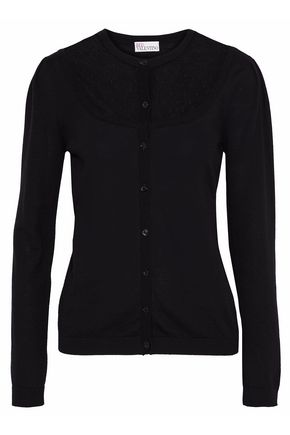 REDValentino Point d'esprit-paneled wool cardigan
