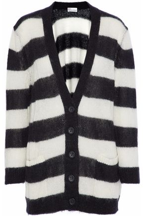 REDValentino Striped mohair-blend cardigan