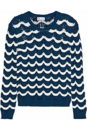 REDValentino Striped open-knit cotton-blend sweater