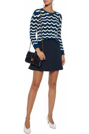 REDValentino Striped open-knit cotton-blend sweater