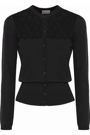 REDValentino Embroidered point d'esprit-paneled wool cardigan