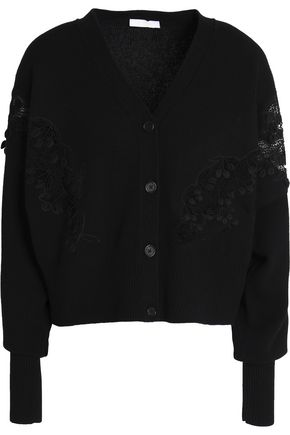 CHLOÉ Guipure lace-appliquéd merino wool and cashmere-blend cardigan