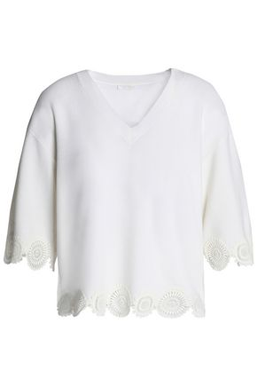 CHLOÉ Guipure lace-trimmed wool top