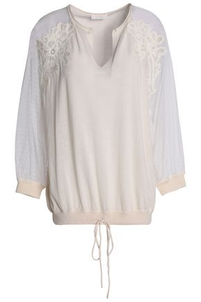 CHLOÉ Point d'esprit-paneled embroidered cotton and silk-blend tunic