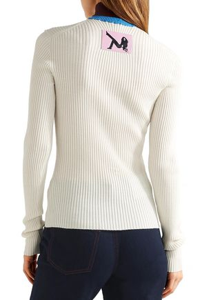 CALVIN KLEIN JEANS Appliquéd ribbed wool-blend turtleneck sweater
