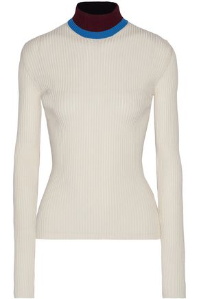 CALVIN KLEIN 205W39NYC Appliquéd ribbed wool-blend turtleneck sweater