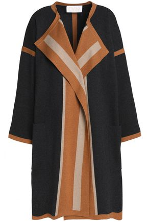 CHLOÉ Color-block cotton, silk and cashmere-blend cardigan
