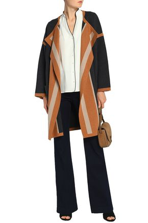 CHLOÉ Color-block cotton, silk and cashmere-blend cardigan