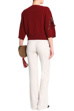 CHLOÉ Guipure lace-trimmed merino wool and cashmere-blend sweater