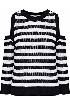 RAG & BONE Cold-shoulder striped open-knit cotton sweater