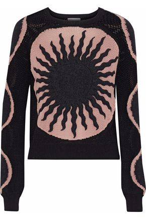 REDValentino Embroidered intarsia cotton and mohair wool-blend sweater