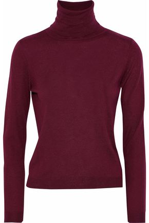 REDValentino Point d'esprit-trimmed cashmere and silk-blend turtleneck sweater