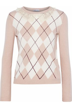 REDValentino Lace-trimmed intarsia-knit sweater