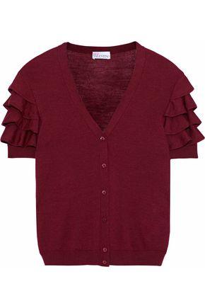 REDValentino Ruffled wool, silk and cashmere-blend cardigan
