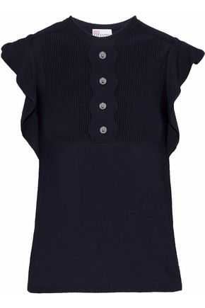 REDValentino Paneled ruffle-trimmed button-embellished knitted top